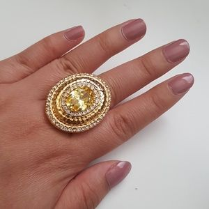Rachel zoe cocktail ring yellow stone crystal